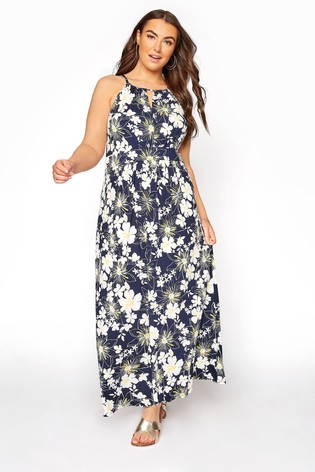 Yours Blue Floral Keyhole Maxi Dress