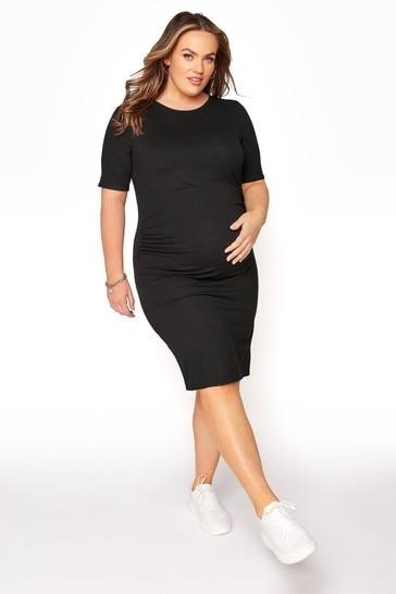 Bump It Up Black Maternity Short Sleeve Bodycon Dress