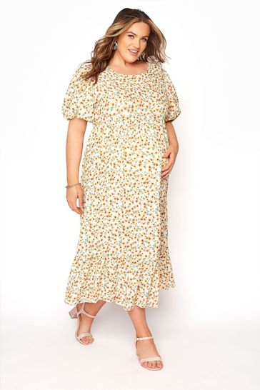 Bump It Up White Maternity Floral Puff Sleeve Smock Dress