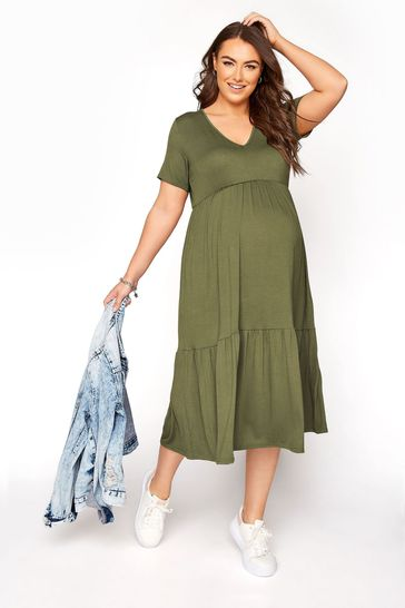 Bump It Up Green Maternity V-Neck Tiered Dress
