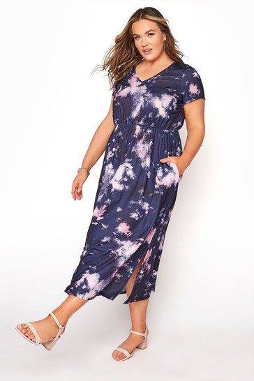 Yours Purple Tie Dye Pocket Maxi Dress