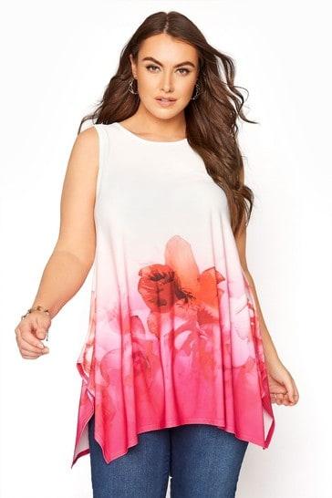 Yours Pink Floral Border Hanky Hem Top