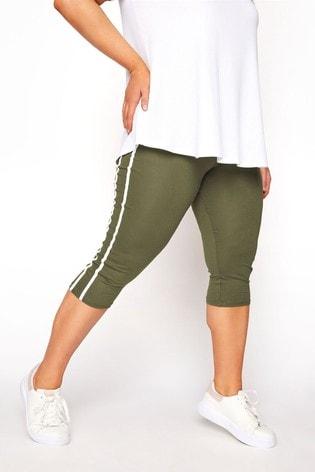 Yours Green Side Stripe Crop Legging