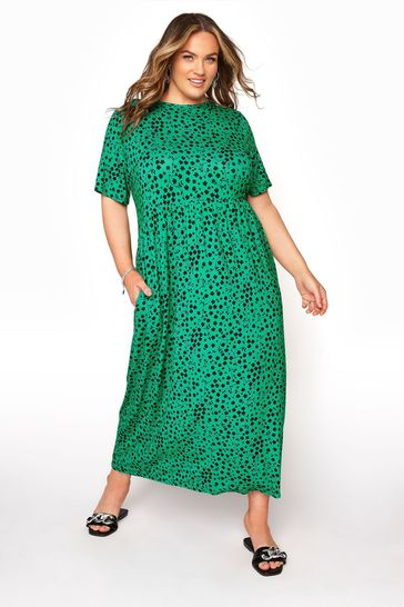 Yours Green Printed Smock Maxi Dress Floral