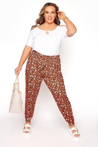 Yours Orange Shirred Waist Trouser