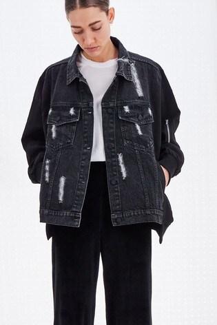 Religion Washed Black Capricorn Mixed Denim Jacket With Bomber Sleeves