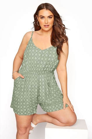 Yours Green Geo Print Playsuit