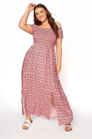Yours Red Shirred Bardot Ditsy Maxi Dress
