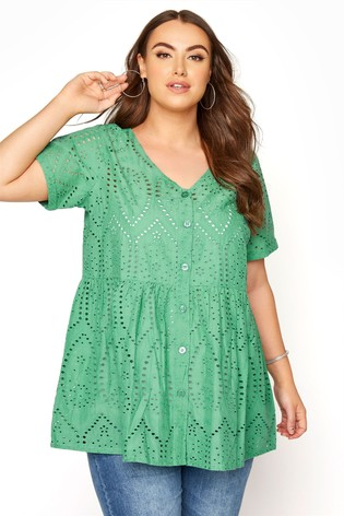 Yours Green Embroidered Lace Peplum Top