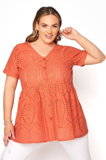 Yours Orange Embroidered Lace Peplum Top