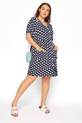 Yours Blue Drop Pocket Polka Dot Peplum Dress