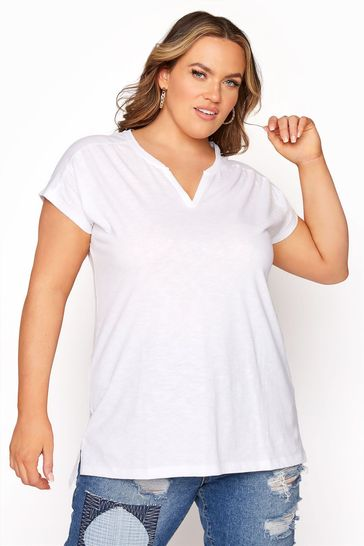 Yours White Grown On Sleeve Notch Neck Tee