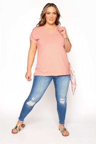 Yours Pink Grown On Sleeve Notch Neck Tee