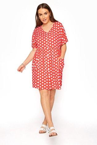 Yours Pink Drop Pocket Polka Dot Peplum Dress