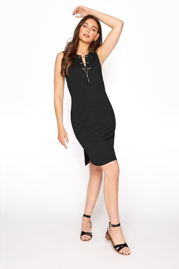 Long Tall Sally Black Lace Up Sleeveless Tunic Dress