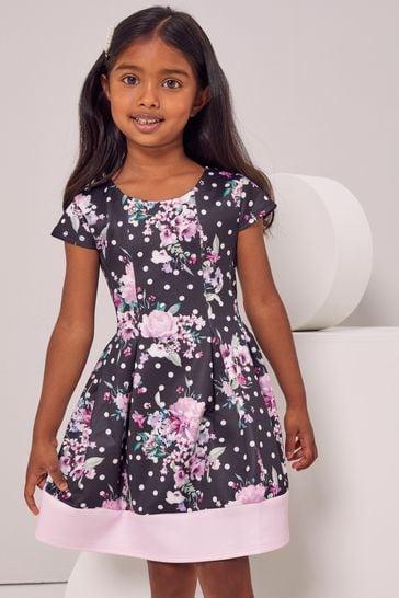 Lipsy Floral Spot Mini Scuba Dress