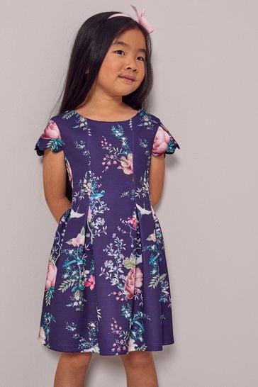 Lipsy Navy Blue Floral Mini Scuba Dress