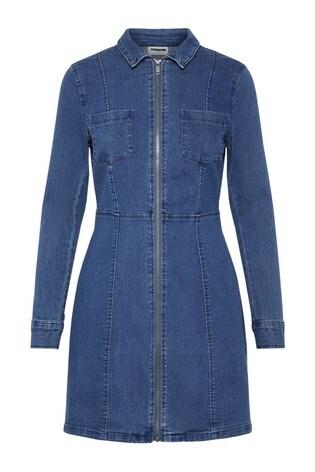 Noisy May Medium Blue Denim Long Sleeve Denim Dress