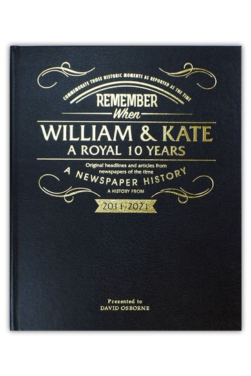Personalised William and Kate Anniversary Newspaper Leather Book by Signature Book Publishing