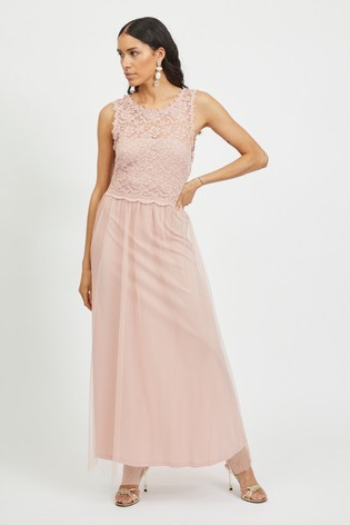 Vila Pink Sleeveless Lace And Tulle Maxi Dress
