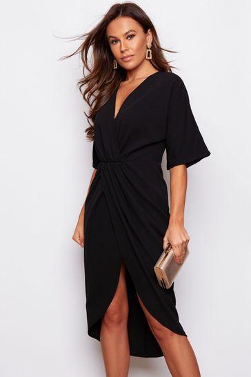 Girl In Mind Black Short Sleeve Wrap Dress