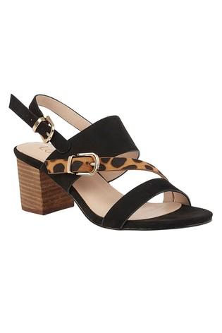 Lotus Footwear Black & Leopard-Print Sling-back Sandals