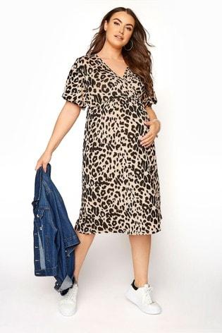 Bump It Up Print Maternity Animal Print Wrap Dress