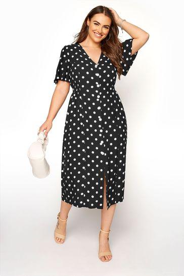 Yours Black Spot Button through dress