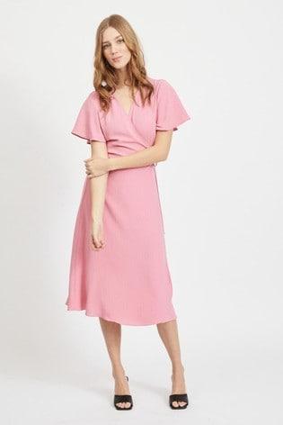 Vila Wild Rose Tie Wrap Short Sleeve Dress