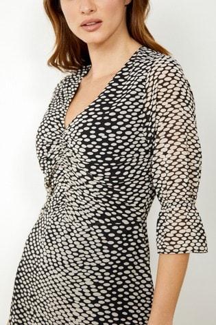 Sosandar Monochrome Spot Print Ruffle Hem Dress