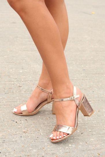 Linzi Rose Gold Skyline Gold PU Open Back Barely There Block Heeled Sandal