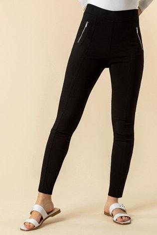 Roman Black Zip Detail Stretch Trouser