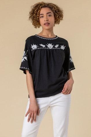 Roman Black Embroidered Yoke T-Shirt