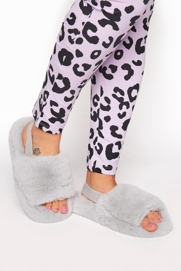 Yours Grey Plush Fur Elastic Slippers
