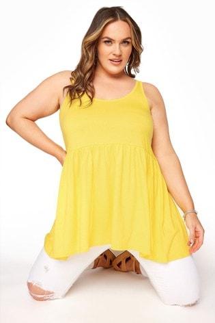Yours Yellow Peplum Vest