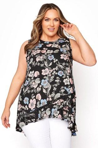 Yours Black Double Layer Floral Crochet Vest