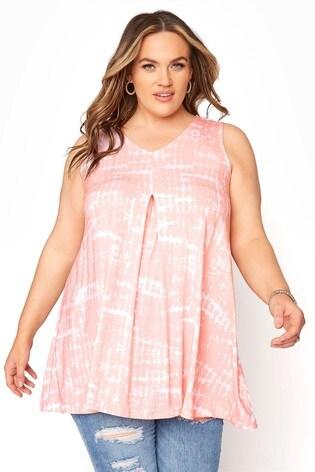 Yours Pink Tie Dye Swing Vest