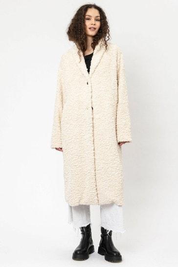 Religion Winter White Faux Fur Long Line Crombie Coat