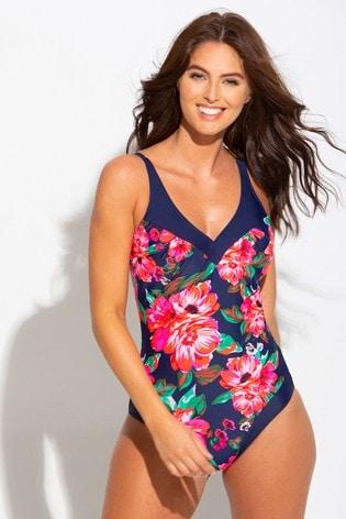 Pour Moi Navy Floral Contour Control Swimsuit