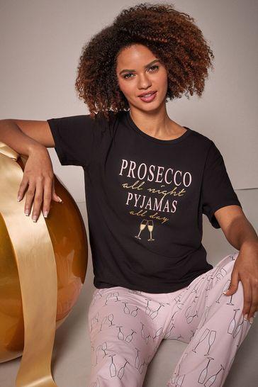 Lipsy Black Prosecco Regular Short Sleeve Pyjama Set