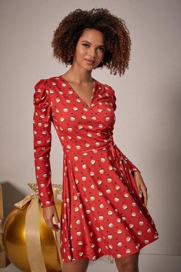 Lipsy Xmas Pudding Regular Puff Sleeve Wrap Dress