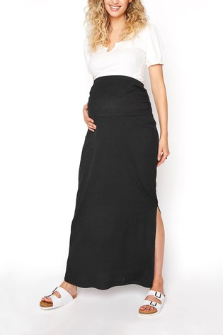 Long Tall Sally Black Ribbed Skirt With Split