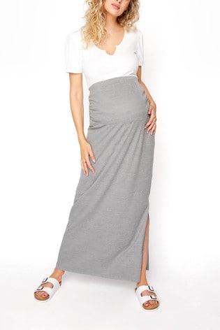 Long Tall Sally Grey Ribbed Skirt With Split