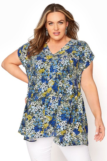 Yours Blue Hi Lo Ditsy Floral Tunic