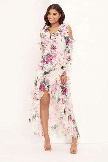 Lipsy Nude VIP Long Sleeve Broidery Midi Dress