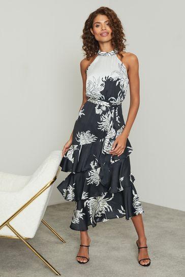Lipsy Monochrome Printed Tiered Halter Midi Dress