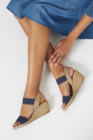 Lipsy Navy Blue Extra Wide Fit Elastic Low Wedge