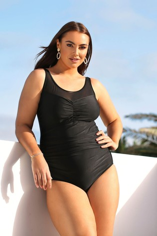 Yours Black Mesh Swimsuit