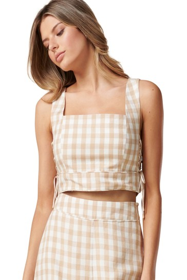 Forever New Multi Elle Gingham Crop Co-Ord Lace Top