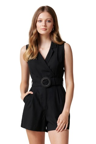 Forever New Black Polly Wrap Belted Playsuit